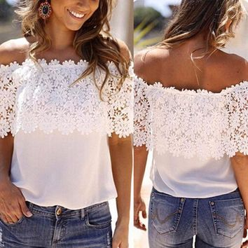 DCCKO03T WJ 2017 Sexy Loose Tops Women White Blouse Lace Off-shoulder Casual Chiffon Blouse