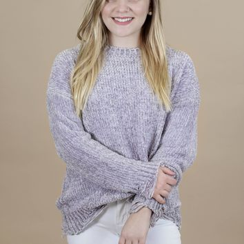 Chaleur Distressed Chenille Sweater, Grey