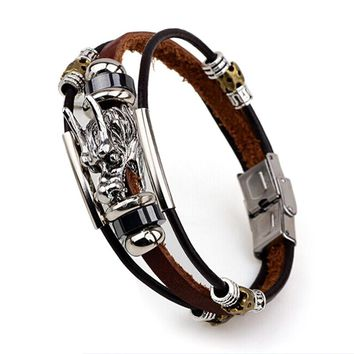 Bracelets Men Accessoires Handmade Braided buckle Charm Leather Bangles for Men Male vintage parataxis dragon Multilayer jewelry