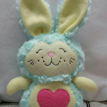 Stuffed bunny super soft perfect for easter embroidered, rabbit, basket, stuffie, plush, stuffed animal, kids, children, stuffed toy snuggle