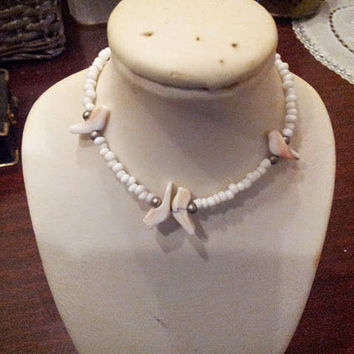 Vintage Dainty White Shell Bracelet Seed Bead Beautiful Carved Birds Silver Beads