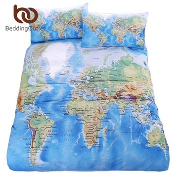 d873d1dc2e2fd BeddingOutlet World Map Bedding Set Vivid Printed Blue Bed Duvet