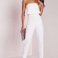 Missguided - Bandeau Double Layer Jumpsuit White