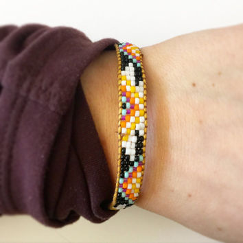 Black, White, Purple, Yellow, Orange and Mint Beaded Loom Bead Friendship Bracelet with Signature Gold Plated Button Adjustable with
