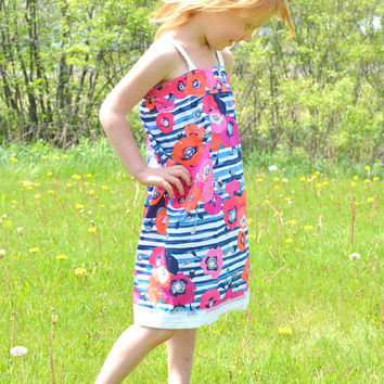 Girls Sun Dress, Summer Dresses, Size 6 Girls Dress, Navy Blue, White, Pink, Coral, Dress with Lace Detail, Custom Boutique Dress