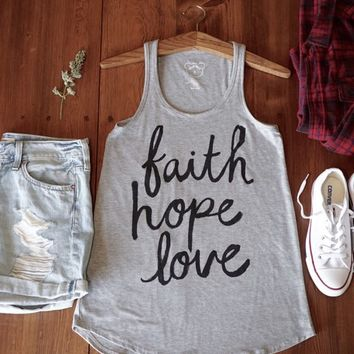 Faith Hope Love Tank -Gray