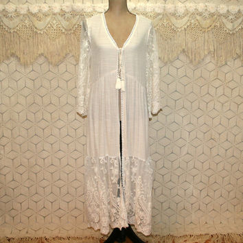 Romantic Victorian Edwardian Bohemian Duster Jacket Cardigan Robe Boho Bride Wedding Ivory Cream Lace Festival Kimono Medium Womens Clothing