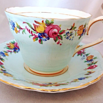 Paragon Afternoon Tea Cup & Saucer Set - 6 available - pale blue turquoise floral - wild flowers - roses pink yellow - bridal shower - fine
