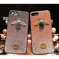 GUCCI Fashion New Gem Bee Shining Women Men Phone Case Protective Cover