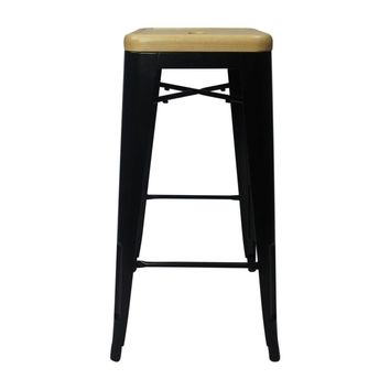 Tolix Style Bar Stool Black - Natural Wooden Seat - Reproduction | GFURN