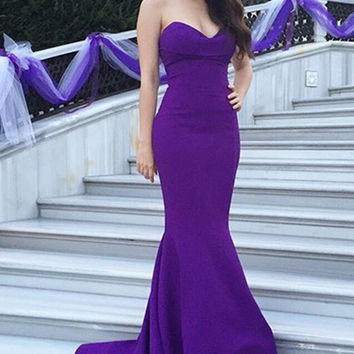 Purple Mermaid Prom Dresses,Satin Prom Dresses,Long Evening Dress