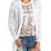 Pointelle Knit Cardigan Sweater by Charlotte Russe - Ivory