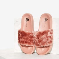 Lust For Life Fine Thanks Faux Fur Slide Sandal - Pink