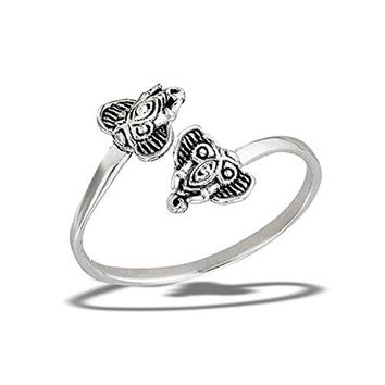 Prime Jewelry Collection Sterling Silver Womens Open Adjustable Elephant Head Animal Thumb Ring Sizes 58