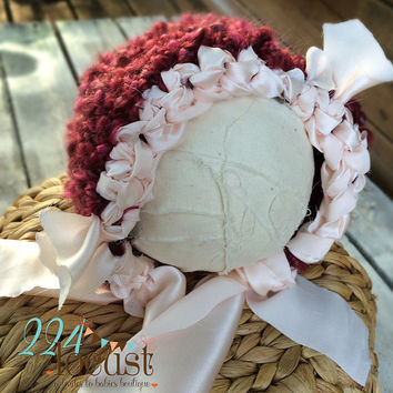 Bonnet, Burgundy Hat in Size 0-3 mos, Cranberry Hat, Baby Girl, Photo Props, Photography Props, Baby Bonnet, Baby Shower, Beanie, Outfit