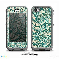 The Delicate Green & Tan Floral Lace Skin for the iPhone 5c nüüd LifeProof Case
