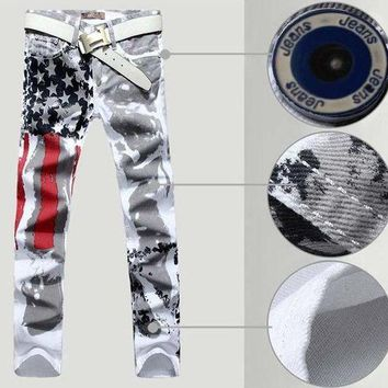 ICIKON3 Mens usa flag white jeans painting color printing stripe cotton stretch straight denim overalls men plus size 44 46