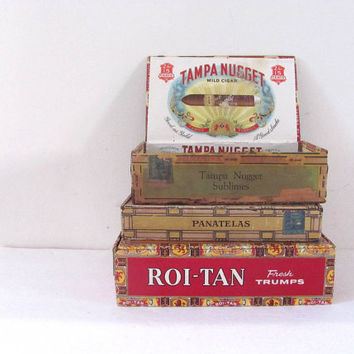 Vintage - Wooden Cigar Boxes / set of 3