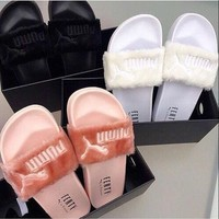 """PUMA"" Rihanna Fenty Leadcat Fur Slipper shoes hot style 2018"