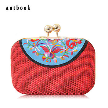 Freeship New 2016 Women's vintage ethnic style embroidery clutch evening bag / girls coin Purse chain Shoulder Messenger Bag