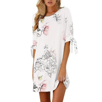 Vestidos verano 2019 Women Summer Half Sleeve Bow Bandage Floral Striaght Casual Short Mini Dress Fashion casual ladies dresses