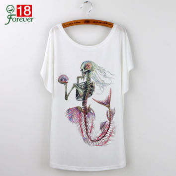 Skeleton Little Mermaid fish scale iron maiden rocker glam pinup tee t-shirt ladies fashion yolo top SQ12017 hot topic