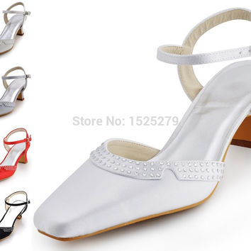 Custom Made EP11033 Women White Ivory Square Toe Chunky Heels 2'' Bridal Pumps Rhinestones Slingback Buckles Satin Wedding Shoes