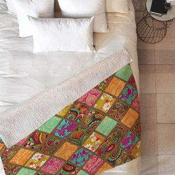 Aimee St Hill Patchwork Paisley Orange Fleece Throw Blanket
