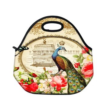 Peacock New Women Insulated Lunch Tote HandBag Kids Picnic Lunch box Bag Cool Bag with Zipper & Handle WaterProof Wholesale