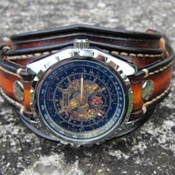Leather Watch, Men's Watch, Steampunk Watch, Text Watch, Custom Leather Watch