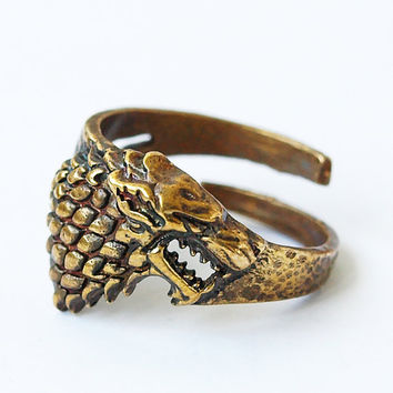 House Stark Direwolf Ring, Game of Thrones, Stark ring, Stark direwolf ring, Song of Ice and Fire, House Stark, Brass ring