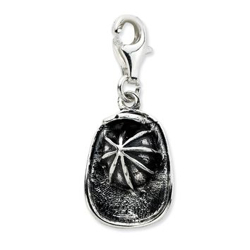 Sterling Silver 3-D Antiqued Firemans Hat w/Lobster Clasp Charm QCC648