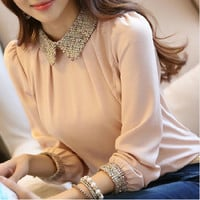 Winter Beaded Pearl Point Collar Chiffon Blouse Women Fashion Long Sleeve Pullover Shirt Plus Size