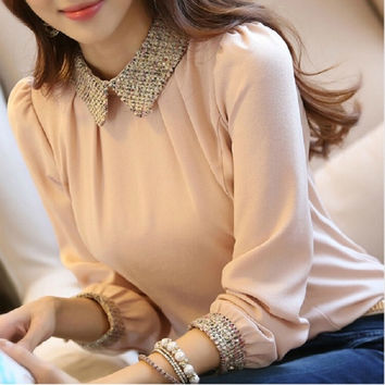 Winter Beaded Pearl Point Collar Chiffon Blouse Women Fashion Long Sleeve Pullover Shirt Plus Size = 1932630084
