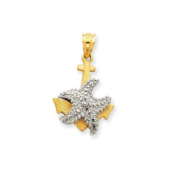 14k Two-Tone Gold Solid Polished Diamond-cut Anchor with Starfish Pendant