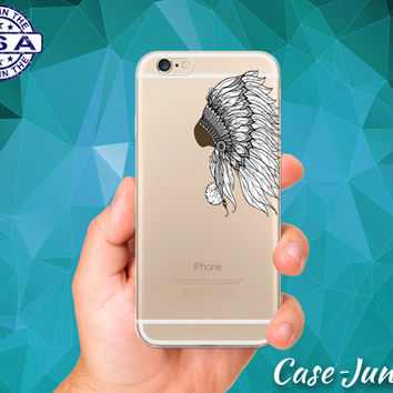 Feather Headdress Native American Feather Boho Clear Case For iPhone 5/5s, iPhone 5C, iPhone 6 and iPhone 6 +, iPhone 6s, iPhone 6s Plus +