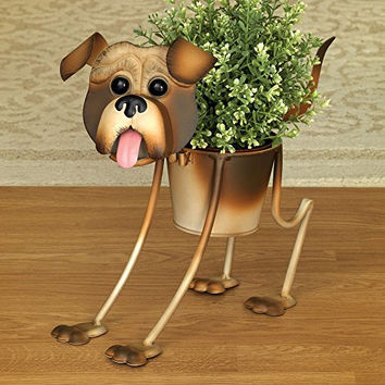 Bits and Pieces - Pug Planter - Outdoor Dog Urn Planter - Cute Garden Statue