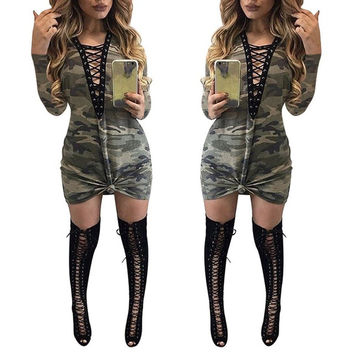 2017 women Spring Autumn Dress V Neck Lace Up Bandage Bodycon Long Sleeve Camouflage Party Clubwear Dance Mini Dress