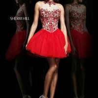 Sherri Hill Short Homecoming Dress 21225 at Peaches Boutique
