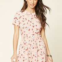 Collared Floral Print Dress