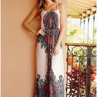 Vintage Print Spaghetti Strap Slim Prom Dress One Piece Dress [6338951425]