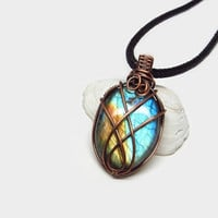 Unique wire wrapped Labradorite necklace, blue and copper stone pendant, copper wire wrap, black leather necklace, unique necklace for women