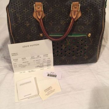 ONETOW Auth Louis Vuitton Monogram Perforated Green Speedy 30 Hand Bag with Receipt