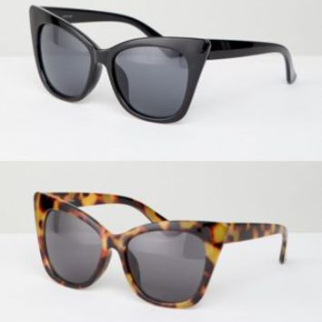 ASOS DESIGN 2 Pack Basic Cat Eye Sunglasses at asos.com