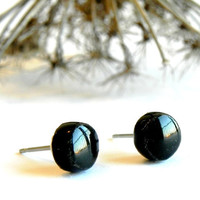 Unisex Black Round Post Earrings Mini Shiny Ceramic Studs Hypoallergenic Post Modern Pottery Jewelry for Man