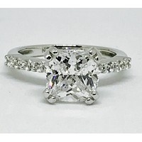 A Perfect 2.1CT Cushion Cut Solitaire Russian Lab Diamond Engagement Ring