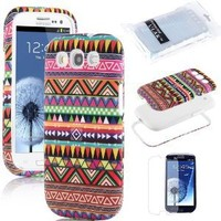 Pandamimi ULAK 3in1 Hybrid High Impact White Hard Aztec Tribal Pattern + Pink Silicone Case Cover For Samsung Galaxy S3 SIII i9300 +Screen Protector by ULAK