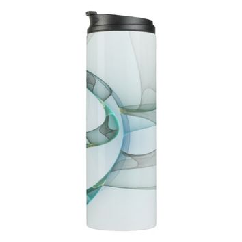 Fractal Art Blue Turquoise Gray Abstract Elegance Thermal Tumbler
