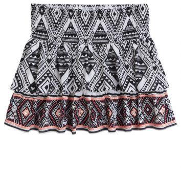 PRINTED TIERED SMOCKED WAIST SKIRT   GIRLS SKIRTS BOTTOMS   SHOP JUSTICE