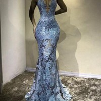 Unique Halter Top See Through Lace Prom Dress Mermaid Evening Gowns